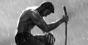 Wolverine mit Samuraischwert