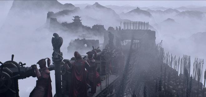 Chinesische Soldaten auf der Mauer